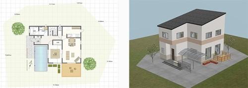 3Dプレゼンツール「SmartHousePlanner」で作成した住宅の間取り図やCG(以下の資料:大塚商会)