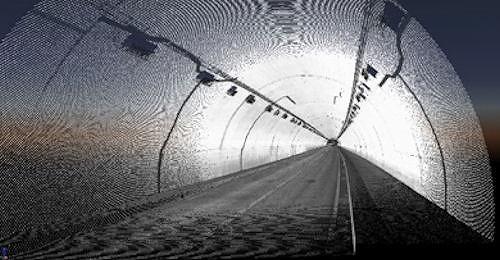 計測したトンネル内の点群データ