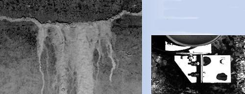 写真からトンネル内の漏水箇所(左)やボルトの締め付け状態(右)をチェックできる