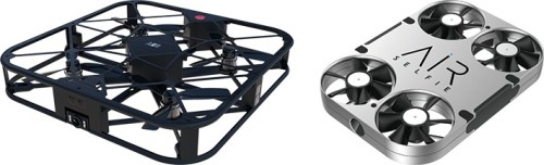 今年の夏発売された小型ドローン2機種。左は「SPARROW 360」で本体の4面に搭載したセンサーで障害物を自動回避しながら、1200万画素の写真撮影が行える。右は重さわずか61gで、ポケットに入れて持ち運べる「AirSelfy」(資料:ソフトバンクコマース&サービス)