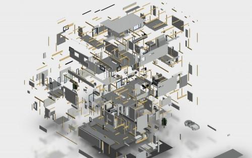 意匠モデルと構造モデルが一体となった木造3階建て建築物のBIMモデルイメージ
