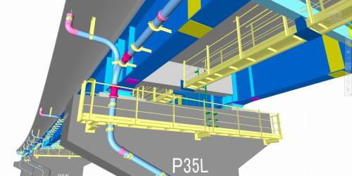 干渉チェックや導線チェックに使われた詳細なCIMモデル(以下の資料:駒井ハルテック、オフィスケイワン)