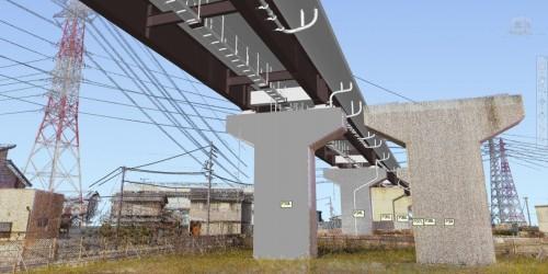 橋脚や電線などを3Dレーザースキャナーで計測した点群データと橋桁のCIMモデルを合成した例