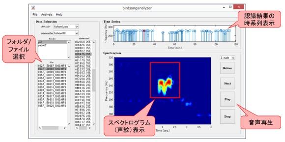 鳴き声の認識結果を確認する画面