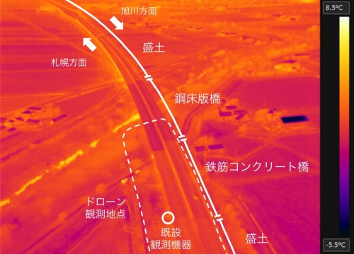 2017年10月26日6時の路面温度観測データ。黄色ほど高温、紫色ほど低温を示す(以下の資料:ウェザーニューズ)