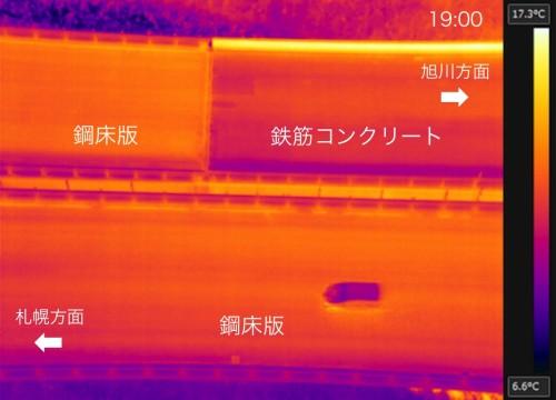 2017年10月25日の19時に地上54mから撮影した赤外線映像。鋼床版部分は鉄筋コンクリート部分よりも温まっている