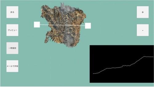 スマホ画面に表示されたオルソ画像(左上)や断面図(右下)