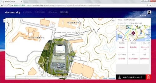データ解析のイメージ。クラウド上に記録された画像データ、位置情報、飛行記録などを元にデータ分析を行う