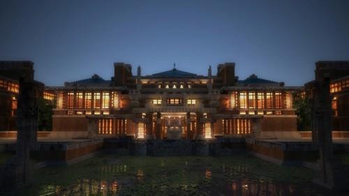 VRで再現された帝国ホテル旧本館の外観(以下の資料:凸版印刷)