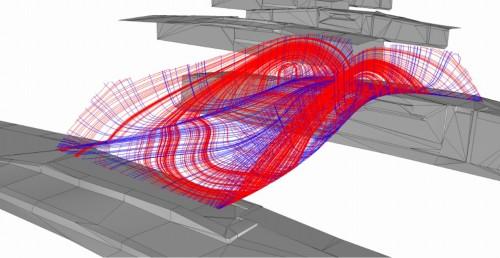 橋桁の応力解析図(資料:Courtesy of Arup, Joris Laarman Lab)