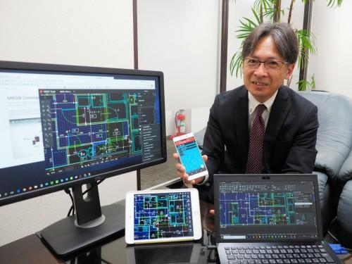 「ARES Commander」をデモンストレーションするグレバートジャパンの江端陽二さん(写真:家入龍太)
