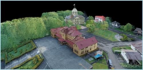 ドローンと3Dレーザースキャナーによる計測データを元に作成した「北海道開拓の村」の3Dモデル(資料:岩崎)