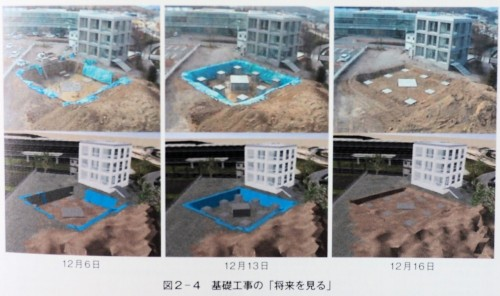 実際の現場(上段)とBIMモデル(下段)による施工シミュレーション