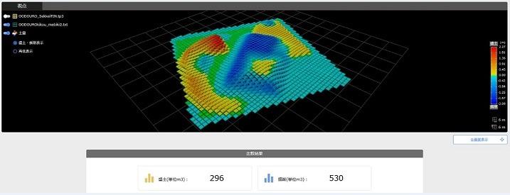 スマートコンストラクションアプリによる土量計算の例
