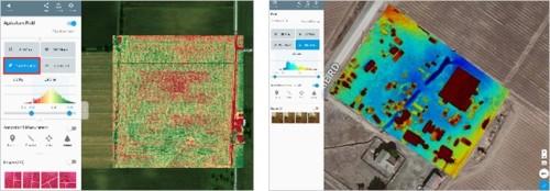 「DroneDeploy」クラウドで植生指標データ(左)や標高計算(右)を行った例