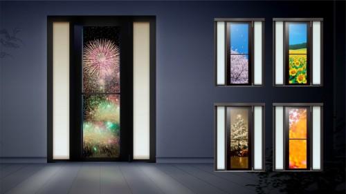 季節に合わせて玄関ドアのデザインを変えた例