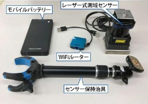 打診棒の位置計測に使うレーザー式測域センサーなど