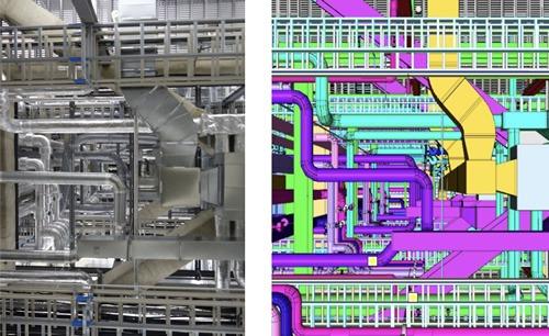 実際の現場(左)とBIMモデル(右)(以下の資料、写真:新菱冷熱工業)