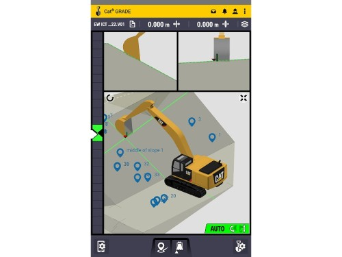 運手席のモニター画面に表示されたバケット位置と仕上がり面のイメージ