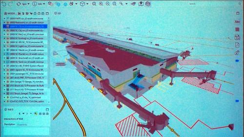3Dビューで見るとターミナルビルのBIMモデルになっていた