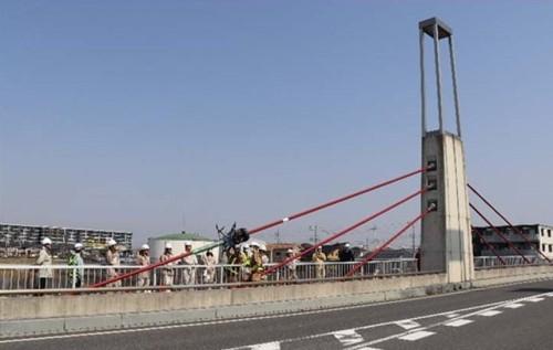 埼玉県越谷市のせいたかしぎ橋で行われたケーブル点検の実証実験(以下の写真、資料:三井住友建設)