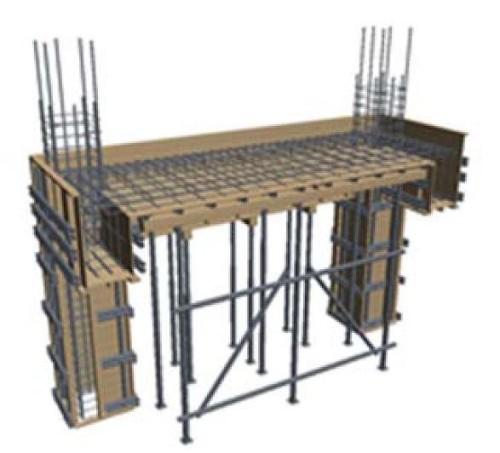 柱と梁の接合部の鉄筋、型枠を3Dモデル化したもの