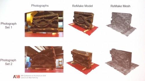 テラコッタ粘土でできたブロックの写真撮影。死角ができないよう、上下をひっくり返して2セットの撮影を行った