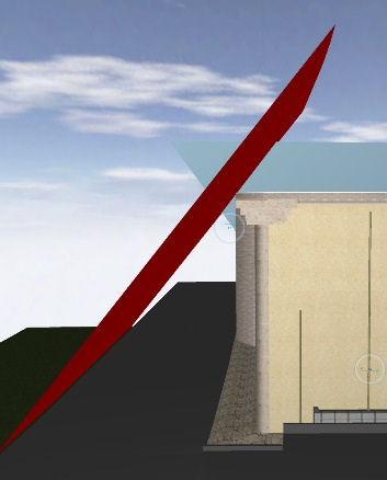 道路斜線の審査例。3Dでの審査なら、最も厳しい部分も簡単に見つけられる