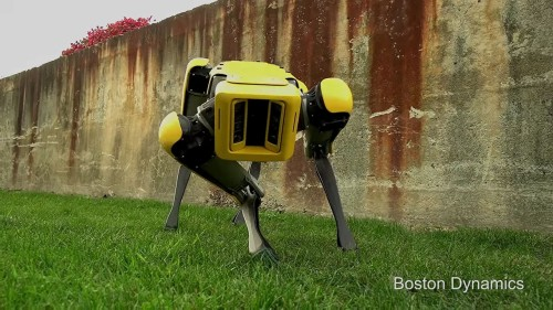 かがむ姿勢でポーズをとるSpotMini(Courtesy of Boston Dynamics)