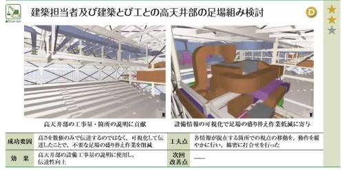 建築とび工を交えた施工検討で高天井部での足場盛り替え作業を減らした高砂熱学工業の事例