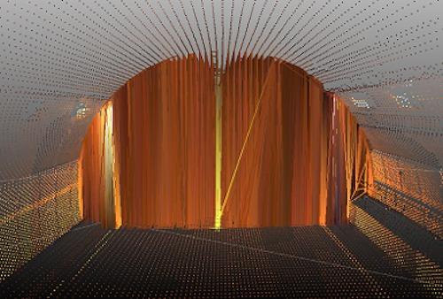 トンネル内面の点群をメッシュ化した例。トンネル断面にも面が張られてしまった(以下の資料:アイサンテクノロジー)