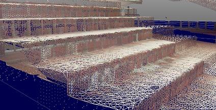 階段の点群をメッシュ化した例