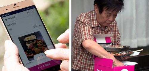 弁当をスマートフォンで注文(左)し、ドローンで配達された弁当を受け取る(右)ことに成功(以下の写真、資料:東京電力ベンチャーズ、ゼンリン、楽天)