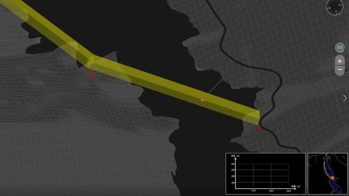 送電線沿いに設けた「ジオフェンス」(黄色い部分)とドローンの現在位置(赤丸)をリアルタイムに表示するシステム