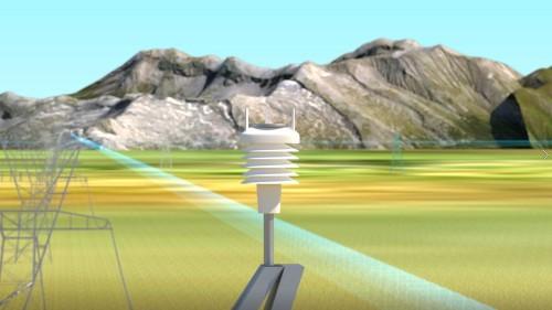 送電鉄塔に設けられた気象観測装置のイメージ図