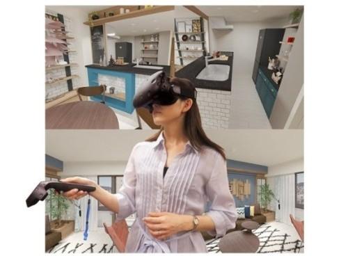 VRとBIMビューワーを使った仮想モデルルームのイメージ。パナソニック・エコソリューションズ社とのコラボで実現した(資料:長谷工グループ)