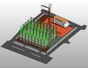 足場やクレーンによる揚重計画の検討にBIMモデルを使った例