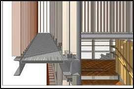 木製ルーバーとキャットウォークの納まりをデジタルモックアップで確認した例
