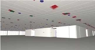 電気・空調・防災設備の位置をBIMモデルで検討した例