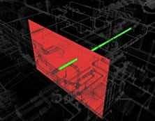 配管と壁の干渉部分を可視化した例