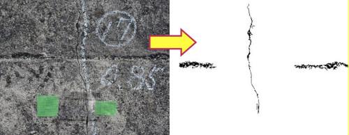 壁面などの映像からクラックを自動的に検出した例