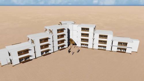 複数のプレハブ建物を並べると、あっという間にホテルも建設できる
