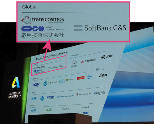 AUJ2018のグローバルスポンサーは、ソフトバンクC&Sとトランスコスモス/応用技術だった