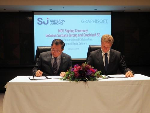 提携の覚書に署名するサーバナ・ジュロンのグループCEO、ウォン・ヒェン・ファイン(WONG Heang Fine)氏(左)とグラフィソフトCEOのビクター・バルコニー(Viktor Varkoyi)氏(右)