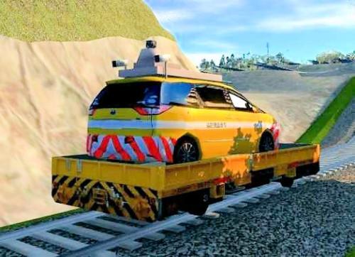 鉄道台車にインフラドクターを載せたイメージ