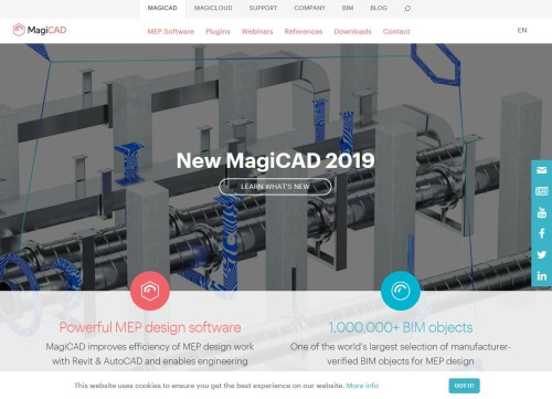 グロードン社の傘下にあるBIMソフト「MagiCAD」のウェブサイト