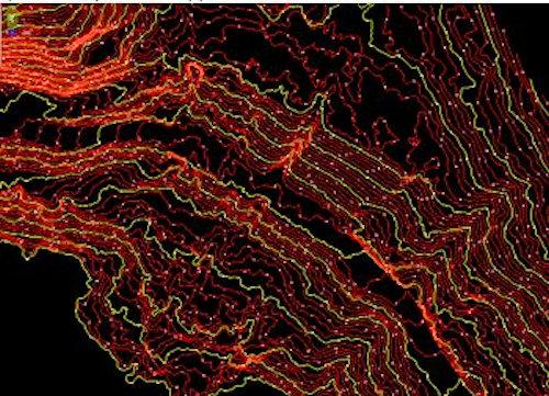 地形の形状を表した等高線図