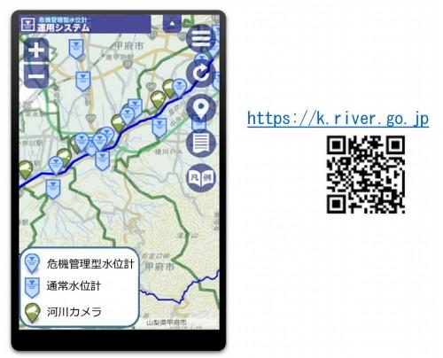 川の水位情報サイト。バーコードでアクセスできる(以下の資料:国土交通省)