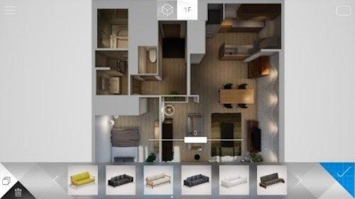 家具の配置もリアルタイムに変更できる