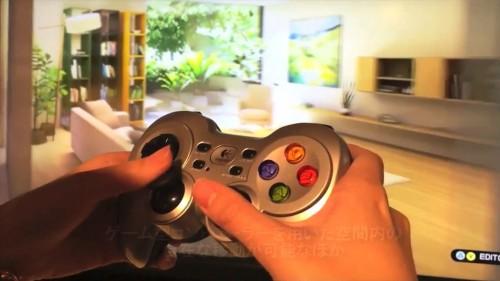 ゲームコントローラーで室内空間を自由に移動しながら、リアルな立体映像が見られる
